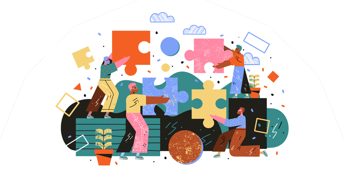A colourful illustration of people holding jigsaw pieces